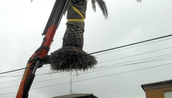 Transporte de restos de obra con la grúa del camión volquete
